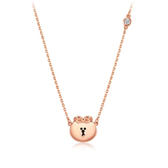 周大福SOINLOVE LINE FRIENDS 丘可18K金钻石项链