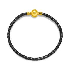 澳门凯旋门官网女款 时尚不锈钢扣手绳皮绳(黑色)