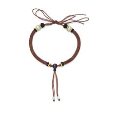周大福棕色色檀木扣手绳