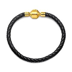 周大福珠宝首饰黑色男款不锈钢扣手绳皮绳