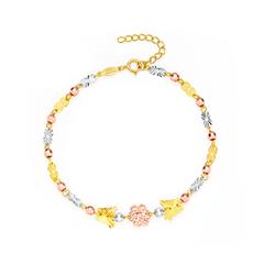 时尚分色蝴蝶黄色18K金手链