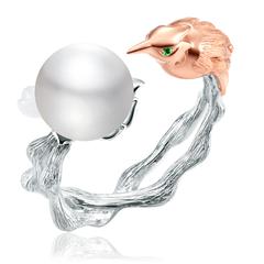 【联系客服订购】故宫系列喜鹊登枝白色18K镶珍珠宝石戒指