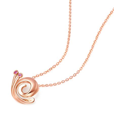 可爱蜗牛10k金镶红宝石吊坠